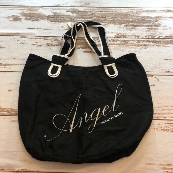 "Victoria's Secret Handbags - Victoria Secret ""Angel"" Black Silver Tote. NWT"